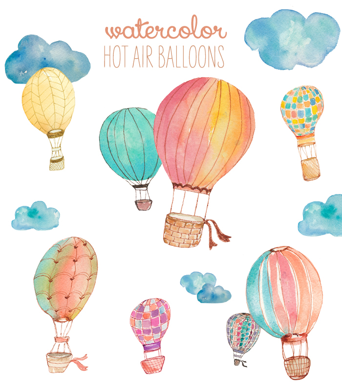 Watercolor clipart Air angiemakes Watercolor Balloon art