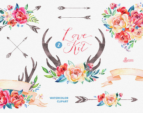 Antler clipart watercolor Watercolor peonies antlers Watercolor 2
