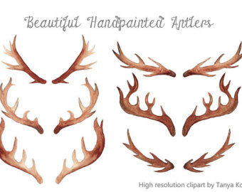 Antler clipart watercolor Watercolor Etsy high Antlers illustration