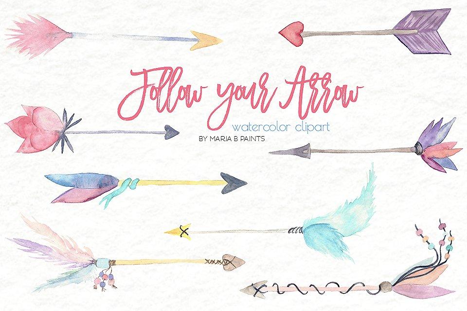 Arrow clipart watercolor #1