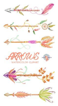 Arrow clipart watercolor #8