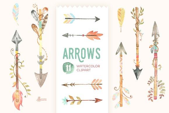 Arrow clipart watercolor #2