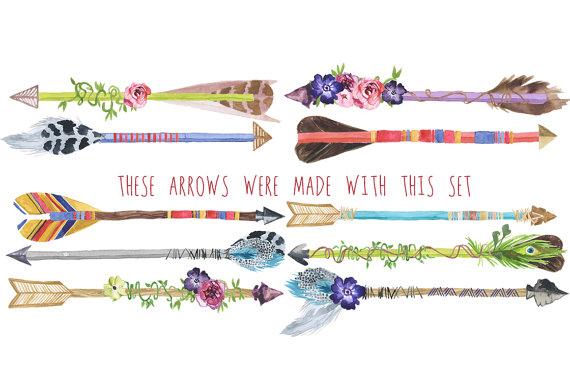 Arrow clipart watercolor #4