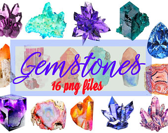 Crystals clipart diamond outline Gems Gemstones clipart Digital Gemstone