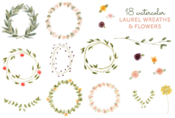Wreath clipart flower illustration Flower Wreath & Flower Watercolor