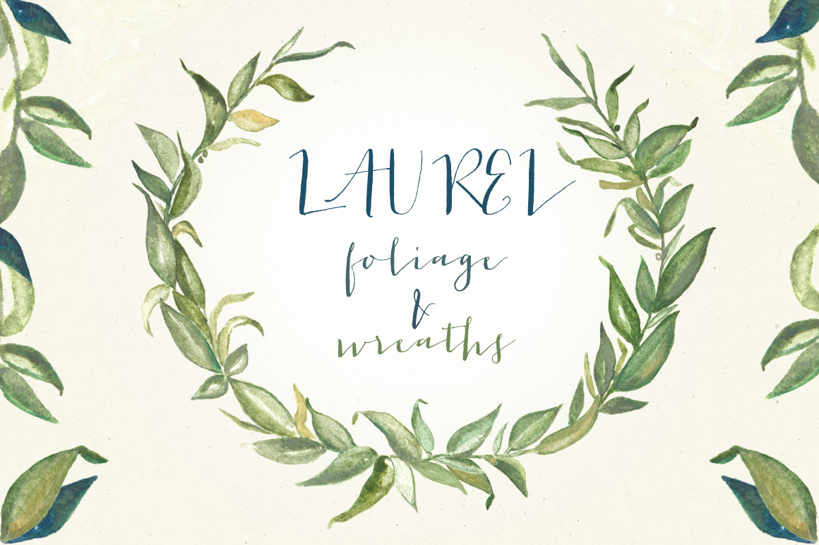 Wreath clipart sage TheHungryJPEG LABFcreations Laurel wreaths by