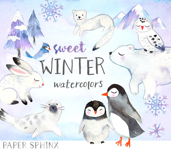 Winter clipart winter animal Holiday Watercolors Penguins Art Winter