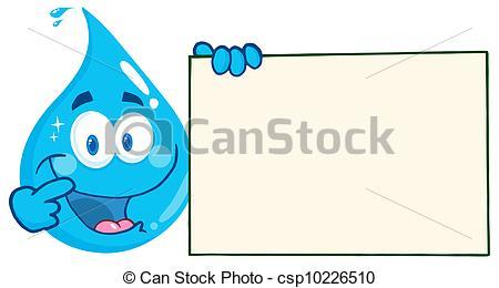 Waterdrop clipart line art Happy Drop Drop Holding Banner