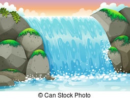 Waterfall clipart Waterfall  EPS clip 246