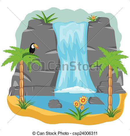 Waterfall clipart Clip of  Vector of