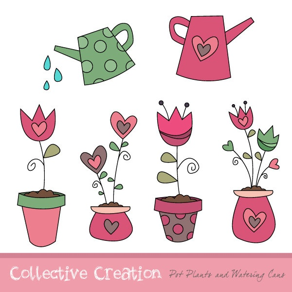 Watering Can clipart cute Heart with Flower Set Pot
