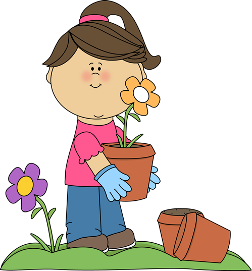 Watering Can clipart kid plant Clip  Image Planting girl