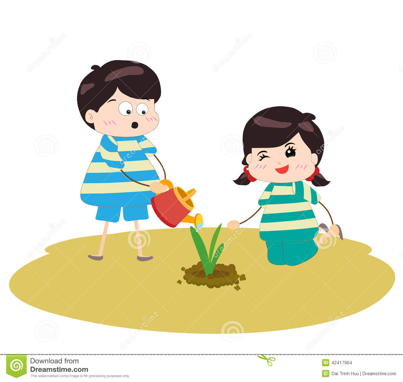 Seed clipart kid plant Kids And Watering Two clipart