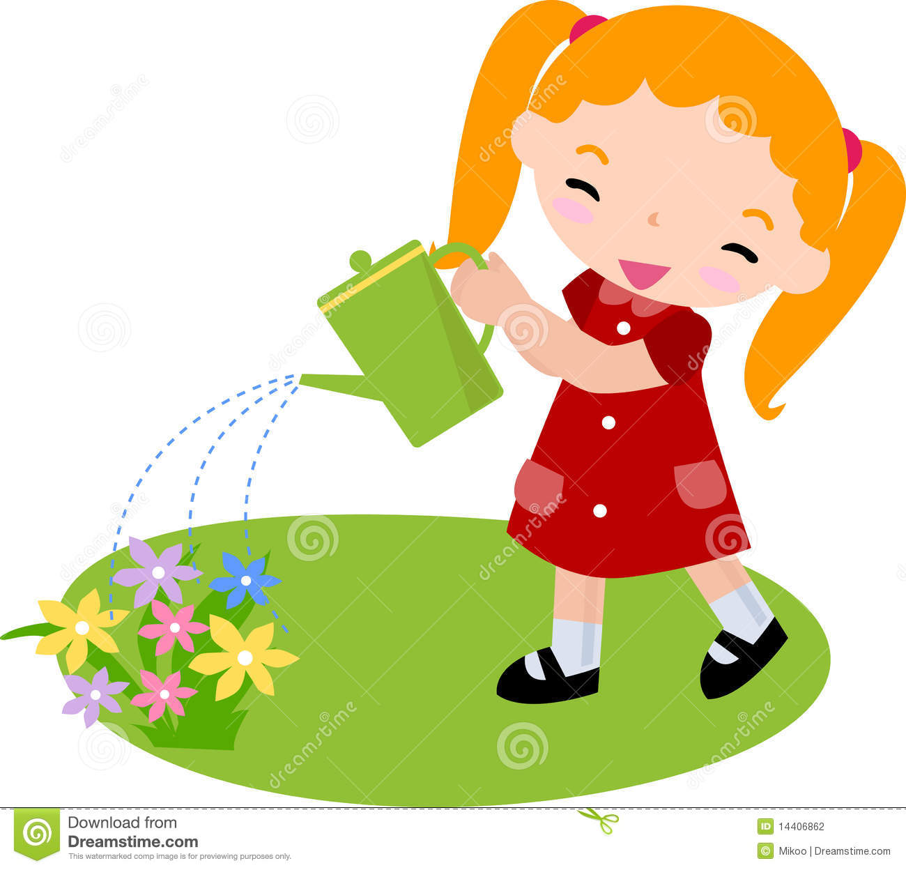 Plant clipart little plant Watering Illustrations collection watering Girl