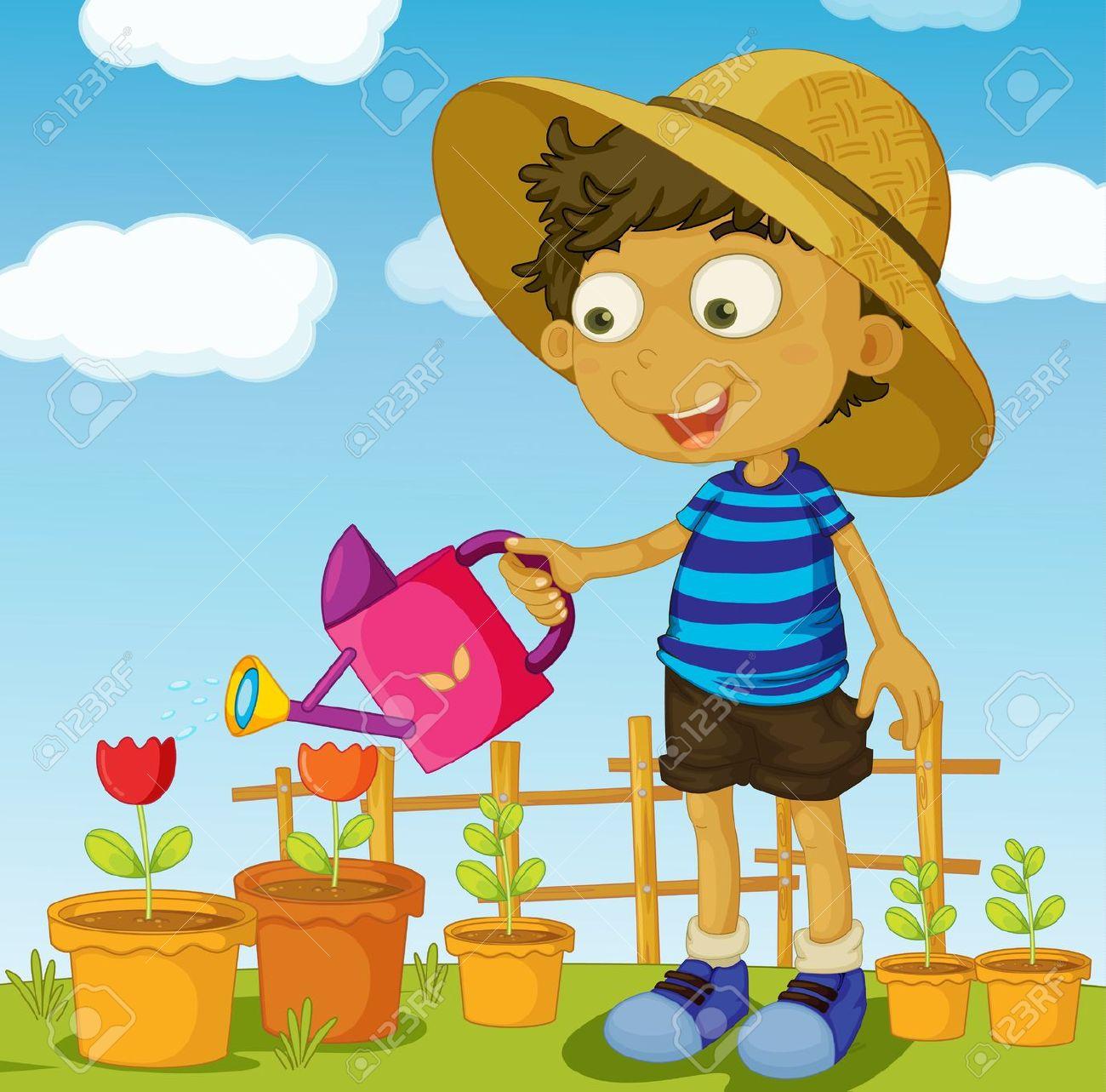 Watering Can clipart kid plant Watering kids kids plants watering