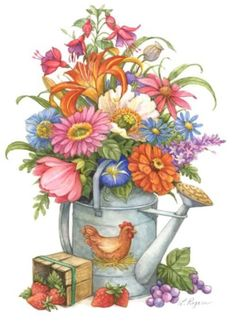Beautiful clipart flower bucket And can can more Spring