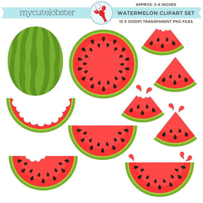 Melon clipart watermelon slice Set Watermelon Set fruit quarters