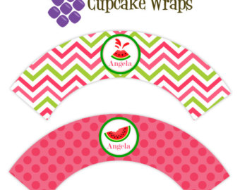 Watermelon clipart cupcake Orange Dots Chevron Personalized Watermelon