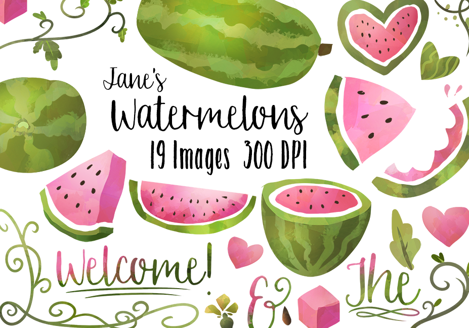 Watermelon clipart individual TheHungryJPEG Watercolor Digitalartsi by com