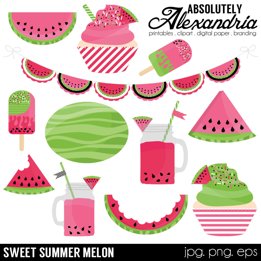 Watermelon clipart individual Summer  Personal is Digital