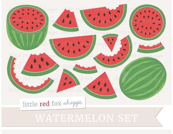 Watermelon clipart individual Illustrations Clipart Creative ~ Clipart