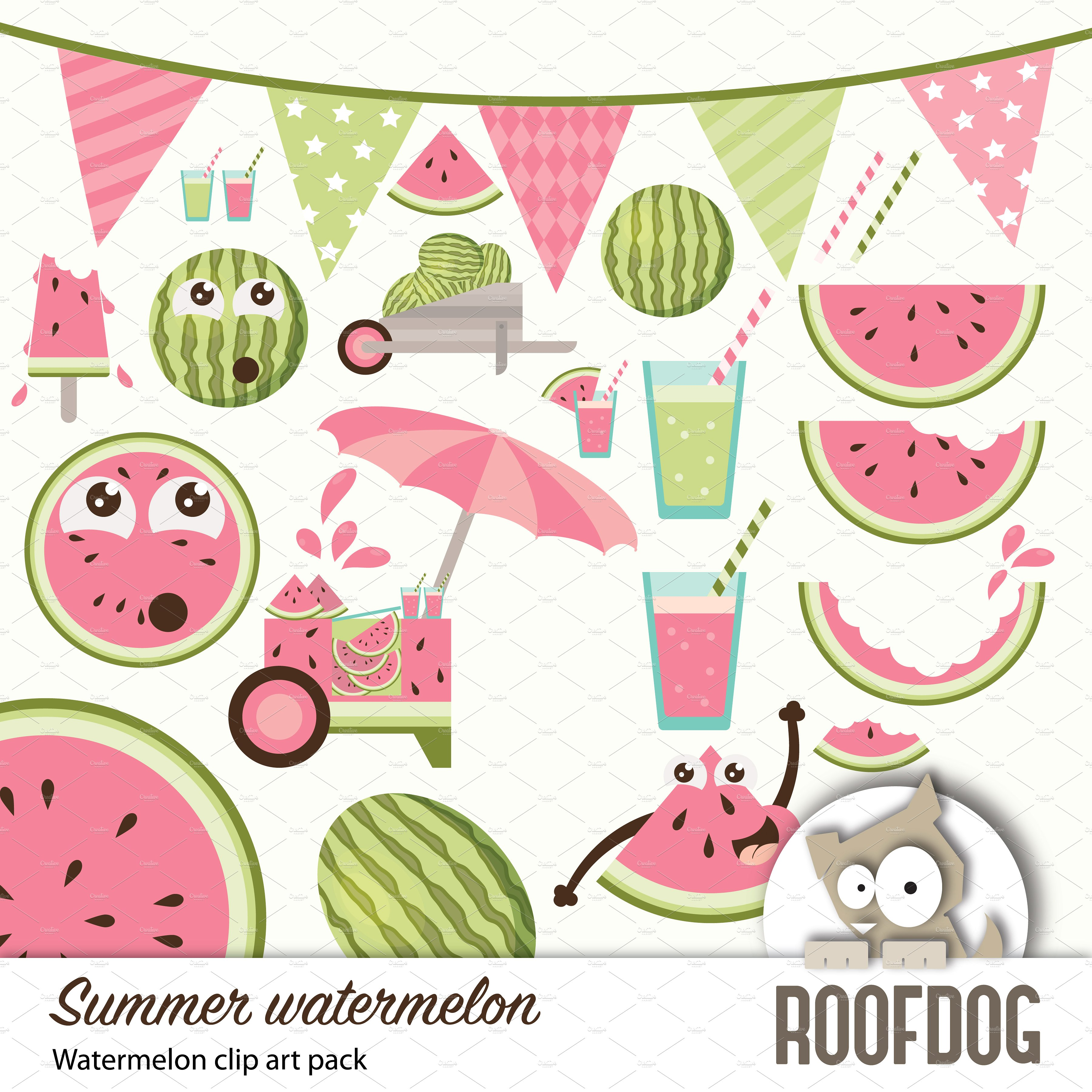 Watermelon clipart individual On Summer Market Illustrations ~