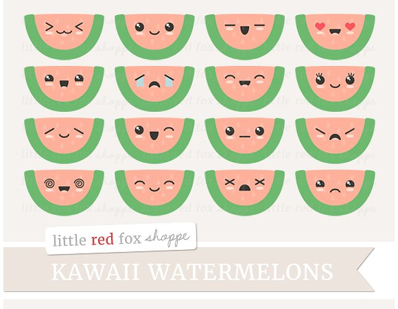 Watermelon clipart kawaii Illustrations Clipart Kawaii Clipart Illustrations