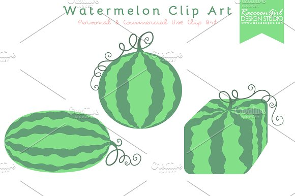 Watermelon clipart leaf Clip on Art Creative Market
