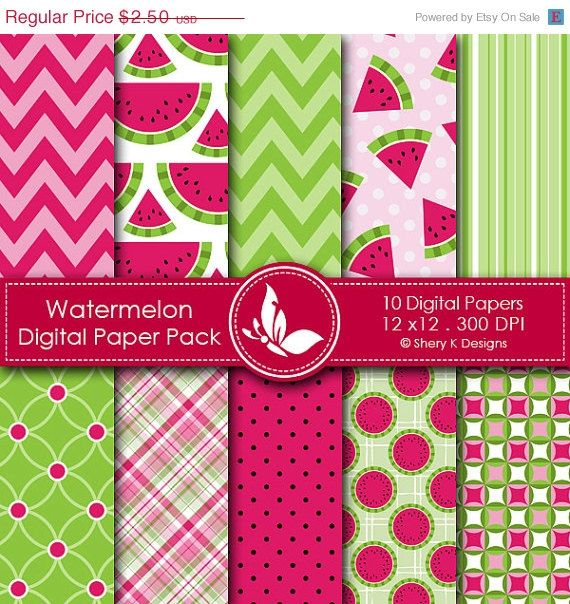 Watermelon clipart paper Paper Watermelon Printable Pack 7