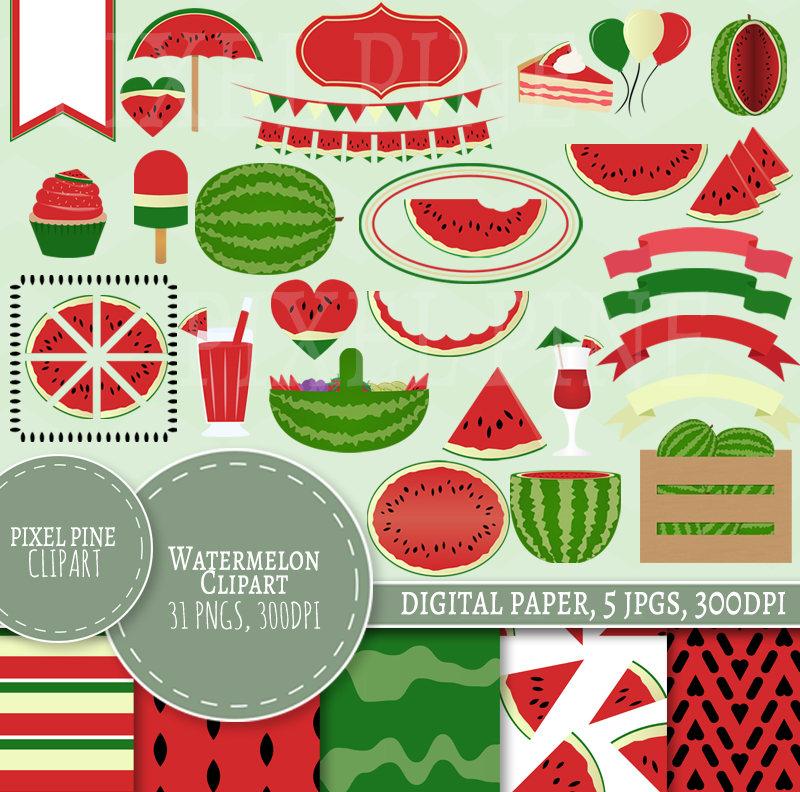 Watermelon clipart paper Digital JPGs Clipart file Digital
