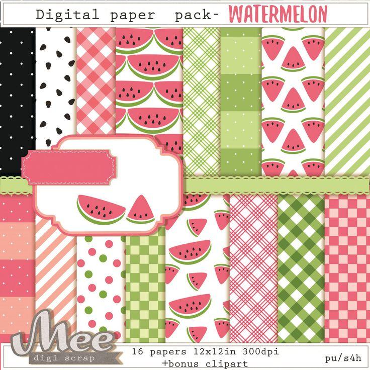 Watermelon clipart paper Paper MeeDigiscrap backgrounds cute 35