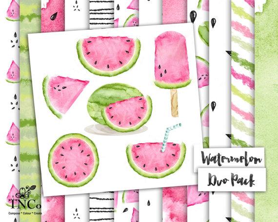 Watermelon clipart paper Paper clipart fruit illustration watermelon