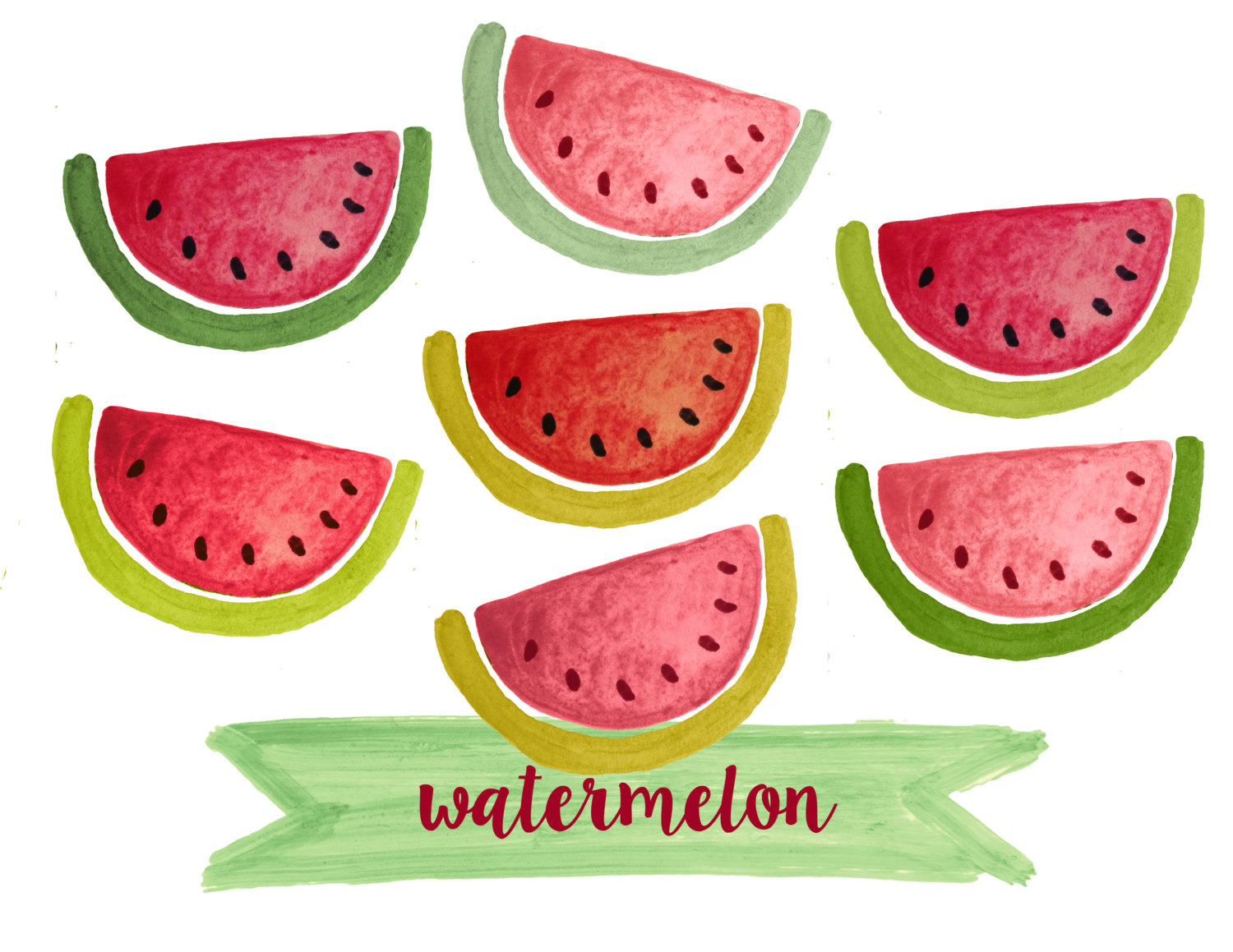 Watermelon clipart red fruit Clipart watercolor a file fruit