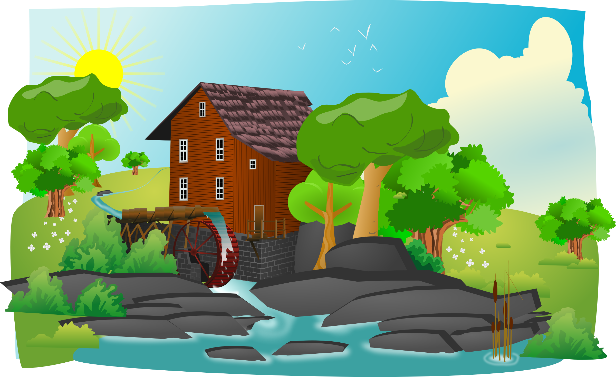Watermill clipart In lanscape Clipart in lanscape