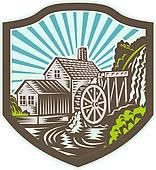 Watermill clipart Stone Retro GoGraph Watermill Watermill