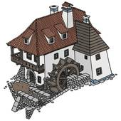 Watermill clipart Mill; Art watermill Royalty Clip