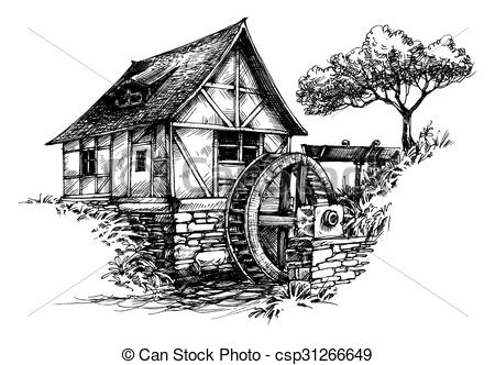 Watermill clipart country scene Drawings Download clipart clipart Watermill