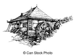 Watermill clipart Watermill Watermill EPS drawn Clipart