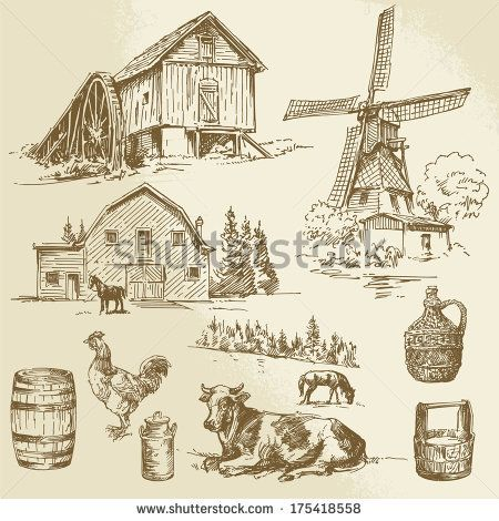 Watermill clipart country scene Google scenes about silhouettes 176