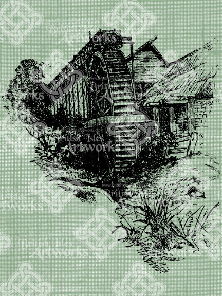 Watermill clipart country scene Digital Antique English Watermill Water