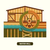Watermill clipart country scene Concept; power flat style Free