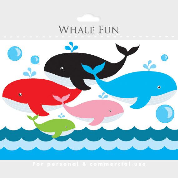 Blue Whale clipart paper Ocean art whales waves Whale
