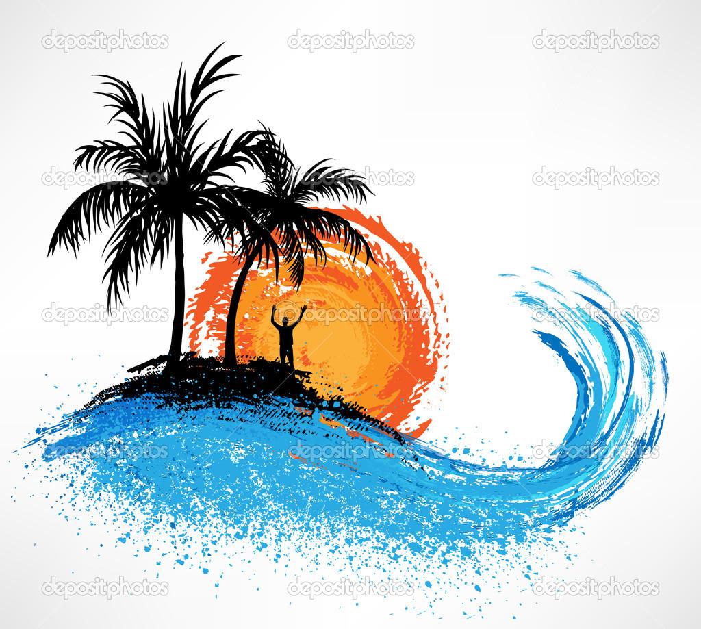Ocean clipart ocean sunset Panda wave Info trees Free