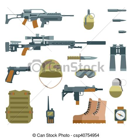 Assault Rifle clipart military Military  flat icons weapon