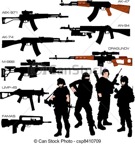 Weapon clipart vector Automatic Weapons Silhouettes Automatic Vectors