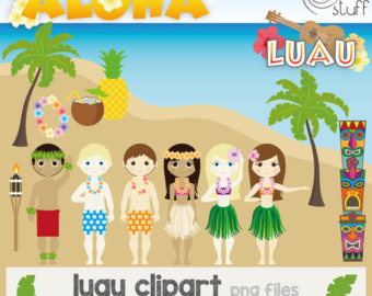 Doll clipart digital Party luau Hula clipart clipart