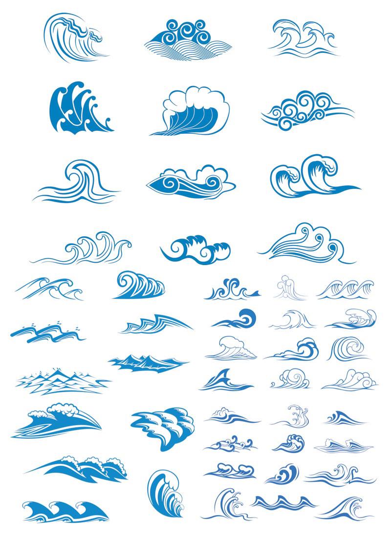 Drawn symbol simple Waves vector Vector symbols Sea