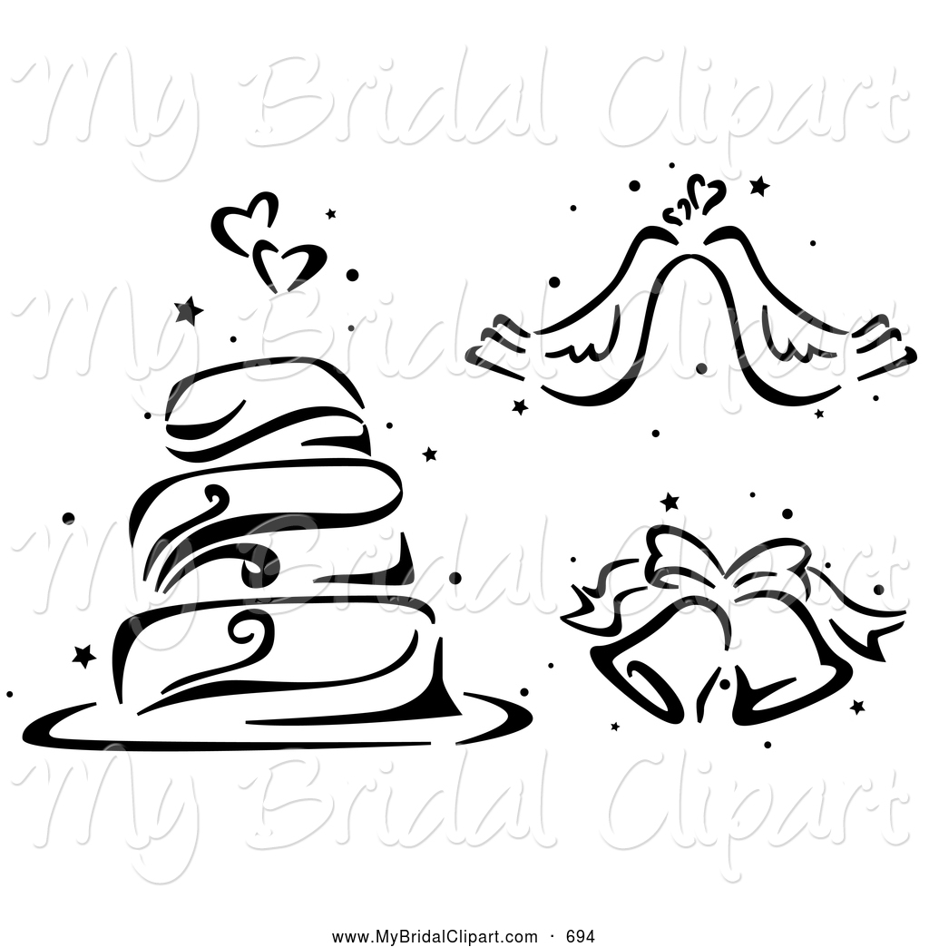Wedding Cake clipart line art Stenciled Wedding clip on Doves