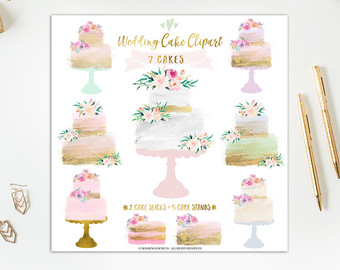 Wedding Cake clipart tiered cake Slices Wedding Watercolor Cake and