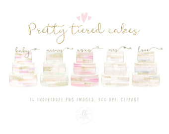Wedding Cake clipart tiered cake Brush Watercolor Tiers and Outline